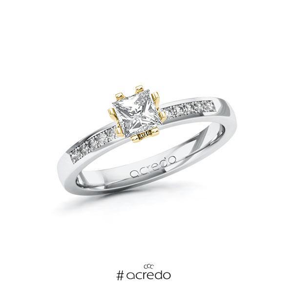 Verlobungsring in Weißgold 585 Gelbgold 585 mit 0,5 ct. + zus. 0,1 ct. Prinzess-Diamant tw, vs tw, si von acredo