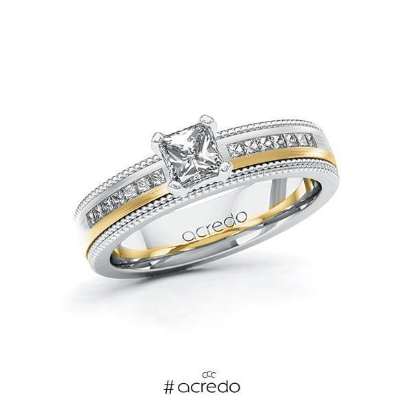 Verlobungsring in Weißgold 585 Gelbgold 585 mit 0,5 ct. + zus. 0,42 ct. Brillant tw, vs tw, si von acredo
