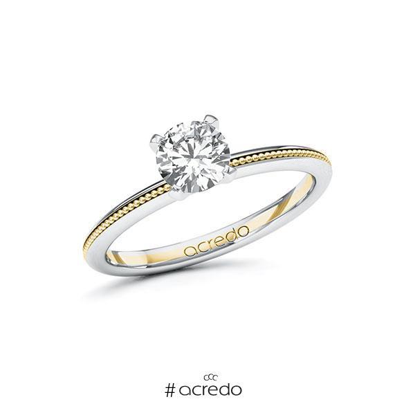 Verlobungsring in Weißgold 585 Gelbgold 585 mit 0,7 ct. Brillant tw, si von acredo