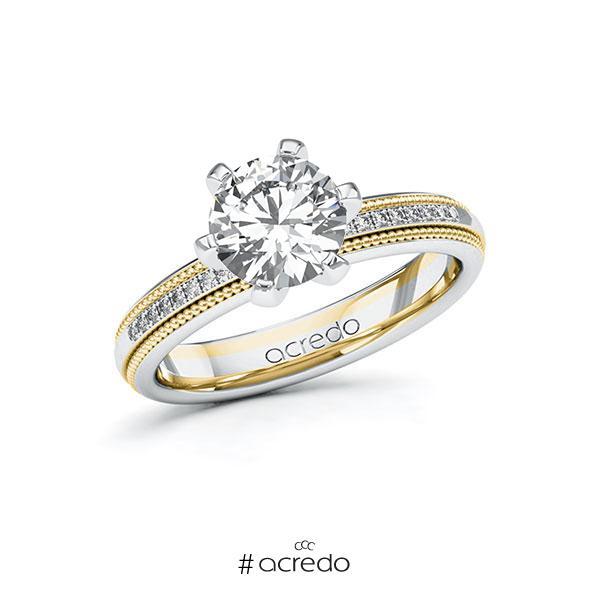 Verlobungsring in Weißgold 585 Gelbgold 585 mit 1,5 ct. + zus. 0,09 ct. Brillant tw, si von acredo