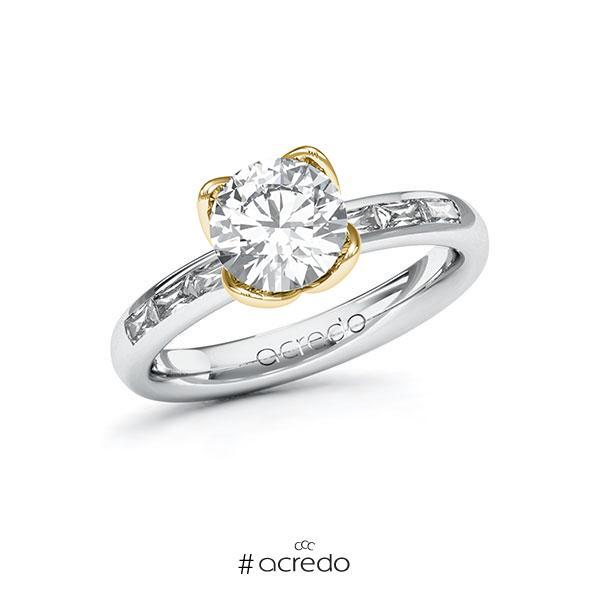Verlobungsring in Weißgold 585 Gelbgold 585 mit 1,5 ct. + zus. 0,3 ct. Brillant tw, vs von acredo