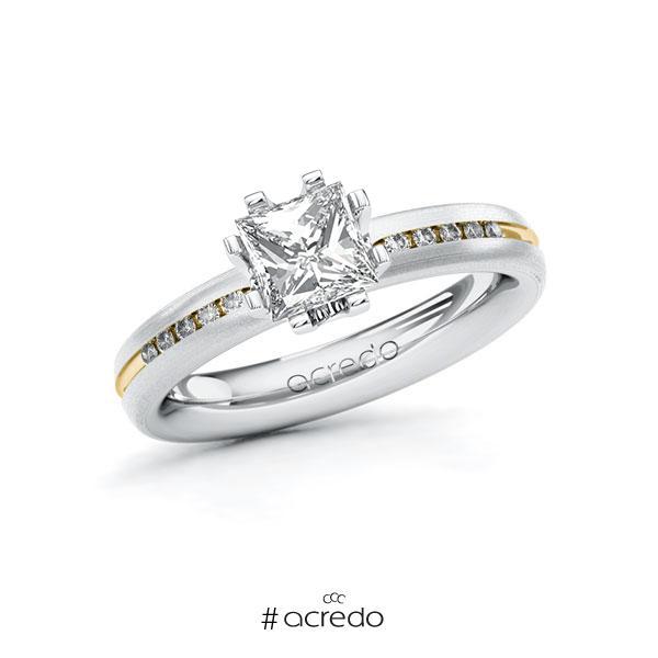 Verlobungsring in Weißgold 585 Gelbgold 585 mit 1 ct. + zus. 0,08 ct. Prinzess-Diamant tw, vs tw, si von acredo