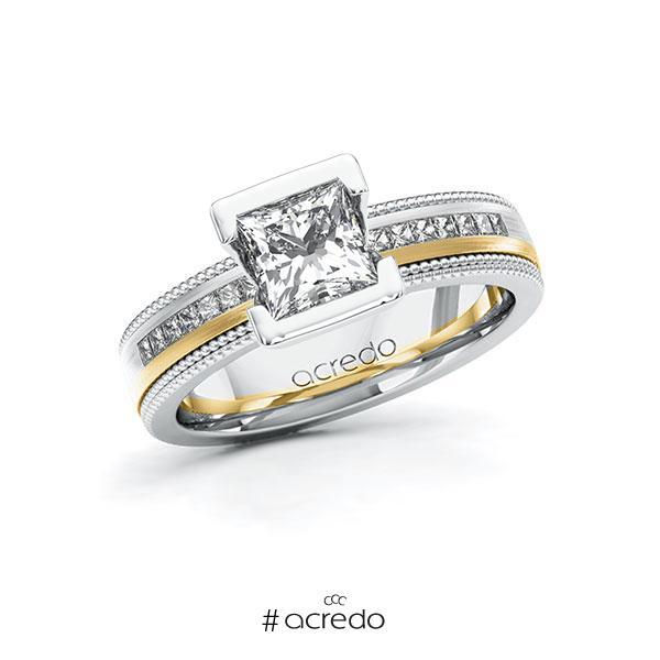 Verlobungsring in Weißgold 585 Gelbgold 585 mit 1 ct. + zus. 0,42 ct. Prinzess-Diamant tw, vs tw, si von acredo