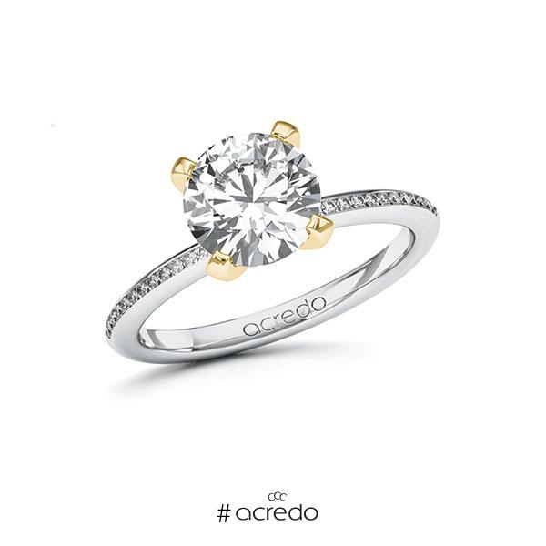 Verlobungsring in Weißgold 585 Gelbgold 585 mit 2 ct. + zus. 0,13 ct. Brillant tw, si von acredo