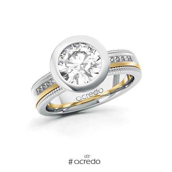 Verlobungsring in Weißgold 585 Gelbgold 585 mit 2 ct. + zus. 0,42 ct. Brillant tw, vs tw, si von acredo