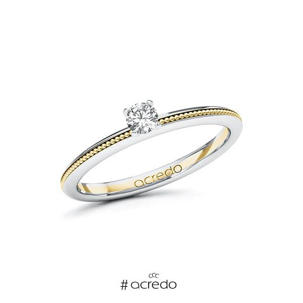 Verlobungsring in Weißgold 585 Gelbgold 585 mit zus. 0,15 ct. Brillant tw, si von acredo
