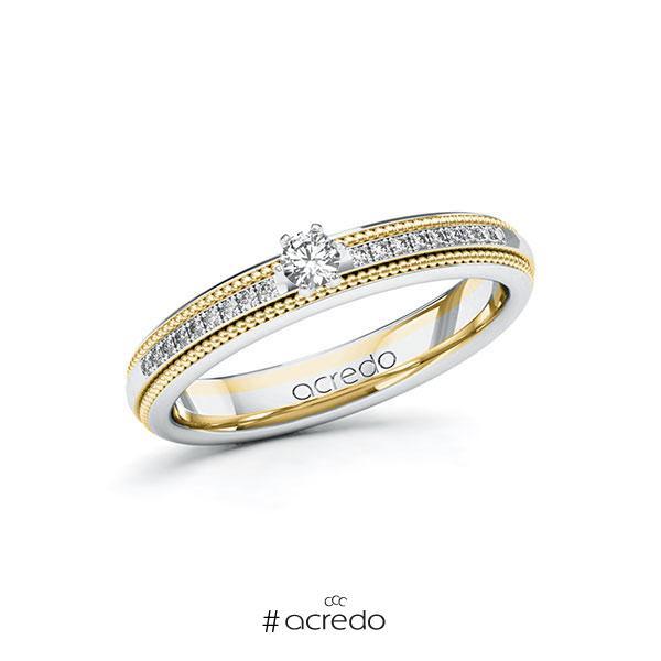 Verlobungsring in Weißgold 585 Gelbgold 585 mit zus. 0,19 ct. Brillant tw, si von acredo