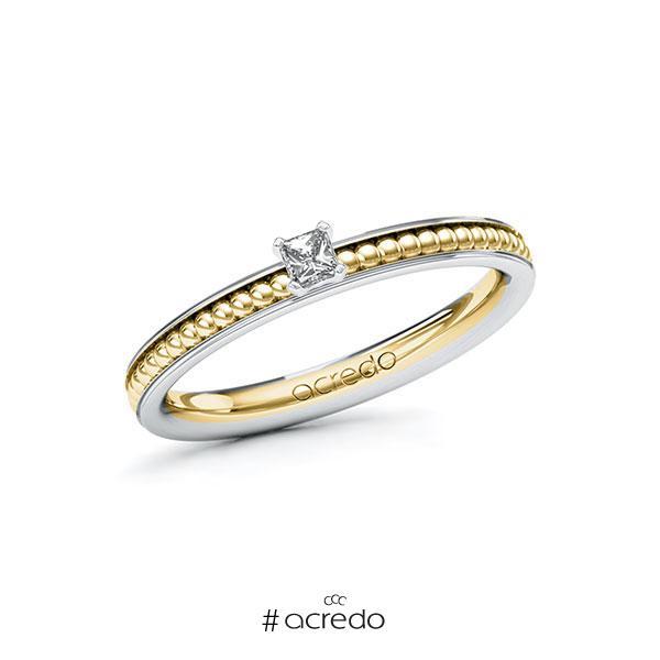 Verlobungsring in Weißgold 585 Gelbgold 585 mit zus. 0,1 ct. Brillant tw, vs von acredo