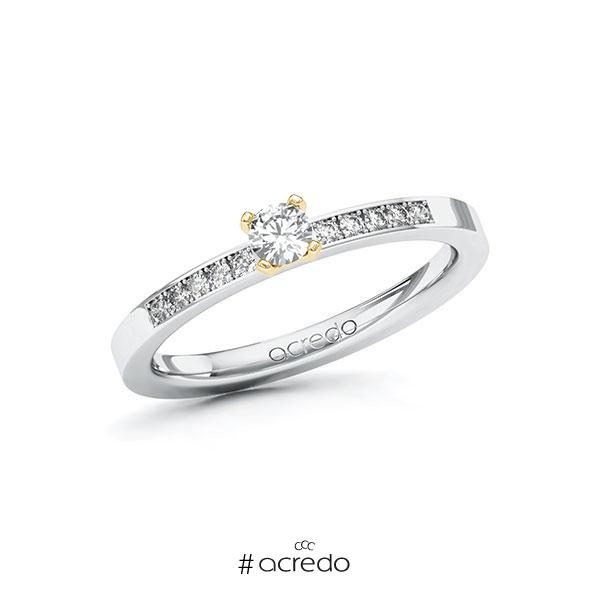 Verlobungsring in Weißgold 585 Gelbgold 585 mit zus. 0,25 ct. Brillant tw, si von acredo