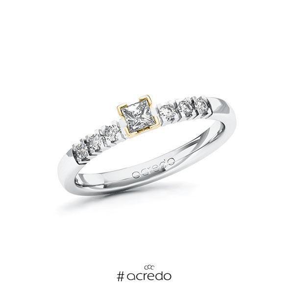 Verlobungsring in Weißgold 585 Gelbgold 585 mit zus. 0,27 ct. Prinzess-Diamant tw, si von acredo