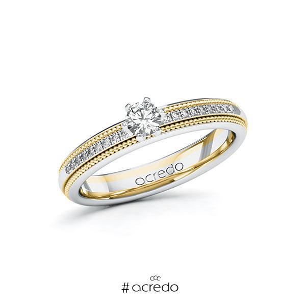 Verlobungsring in Weißgold 585 Gelbgold 585 mit zus. 0,29 ct. Brillant tw, si von acredo