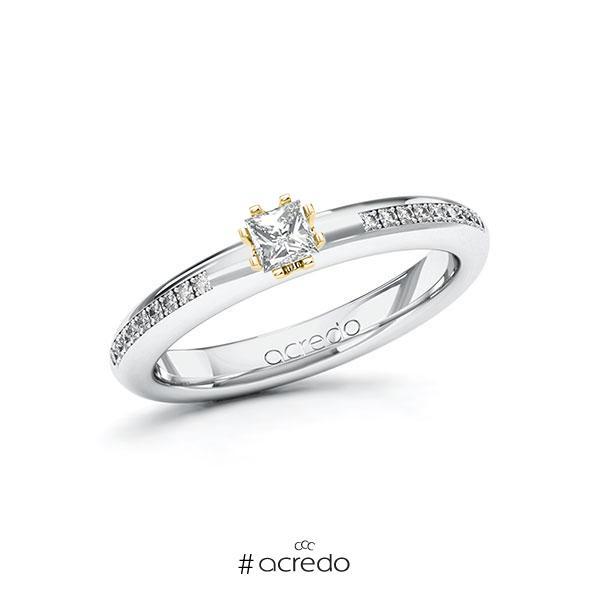 Verlobungsring in Weißgold 585 Gelbgold 585 mit zus. 0,29 ct. Prinzess-Diamant tw, si von acredo
