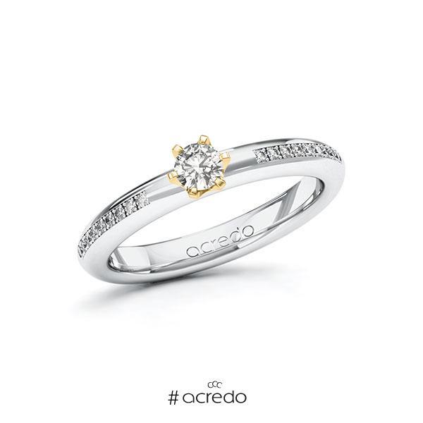 Verlobungsring in Weißgold 585 Gelbgold 585 mit zus. 0,29 ct. tw, si von acredo