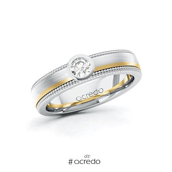 Verlobungsring in Weißgold 585 Gelbgold 585 mit zus. 0,2 ct. Brillant tw, vs von acredo