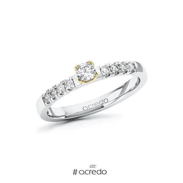 Verlobungsring in Weißgold 585 Gelbgold 585 mit zus. 0,31 ct. Brillant tw, si von acredo