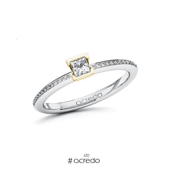 Verlobungsring in Weißgold 585 Gelbgold 585 mit zus. 0,33 ct. Prinzess-Diamant tw, si von acredo