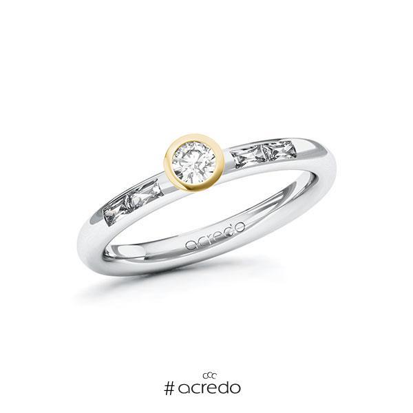 Verlobungsring in Weißgold 585 Gelbgold 585 mit zus. 0,35 ct. Brillant tw, si tw, vs von acredo