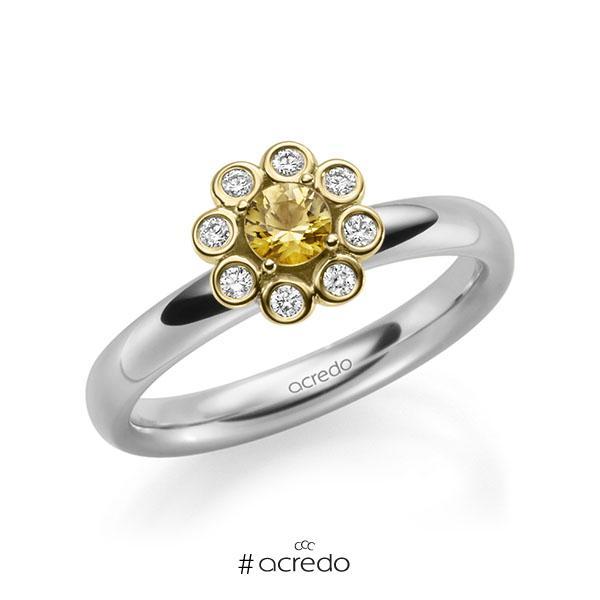 Verlobungsring in Weißgold 585 Gelbgold 585 mit zus. 0,37 ct. Brillant Saphir Gelb (A 8) tw, si von acredo