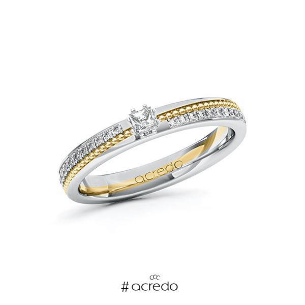 Verlobungsring in Weißgold 585 Gelbgold 585 mit zus. 0,396 ct. Prinzess-Diamant tw, vs tw, si von acredo