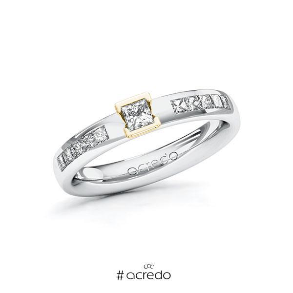 Verlobungsring in Weißgold 585 Gelbgold 585 mit zus. 0,45 ct. Prinzess-Diamant tw, si von acredo