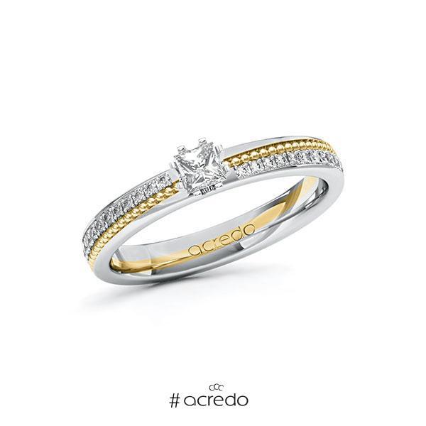 Verlobungsring in Weißgold 585 Gelbgold 585 mit zus. 0,496 ct. Prinzess-Diamant tw, vs tw, si von acredo