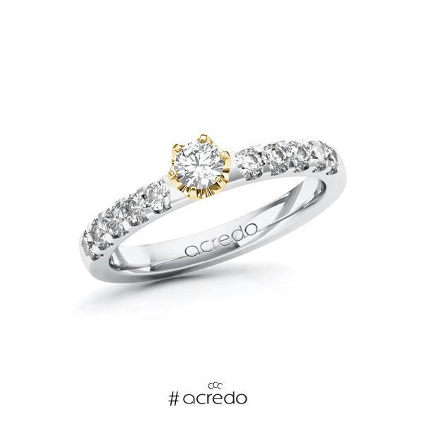 Verlobungsring in Weißgold 585 Gelbgold 585 mit zus. 0,5 ct. Brillant tw, si von acredo