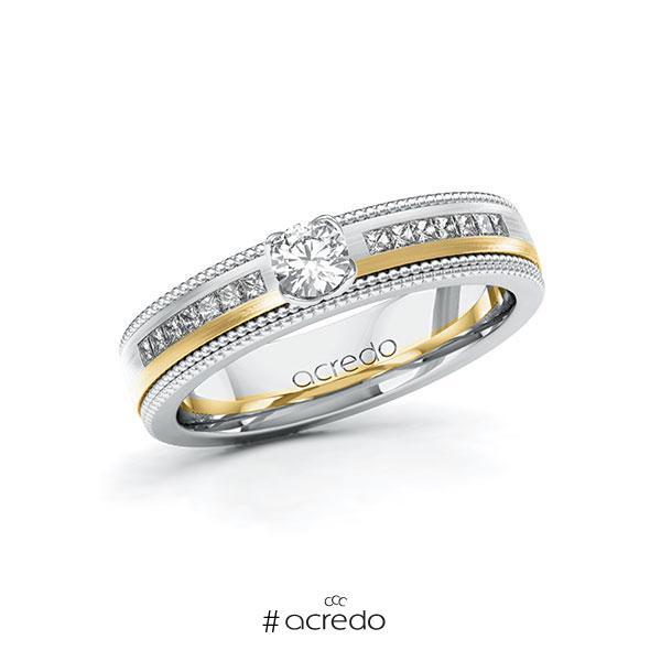 Verlobungsring in Weißgold 585 Gelbgold 585 mit zus. 0,62 ct. Brillant tw, vs tw, si von acredo