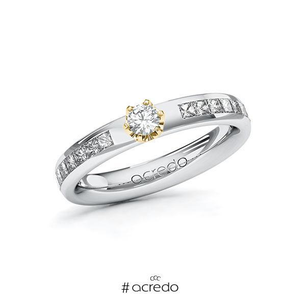Verlobungsring in Weißgold 585 Gelbgold 585 mit zus. 0,63 ct. Brillant tw, si von acredo