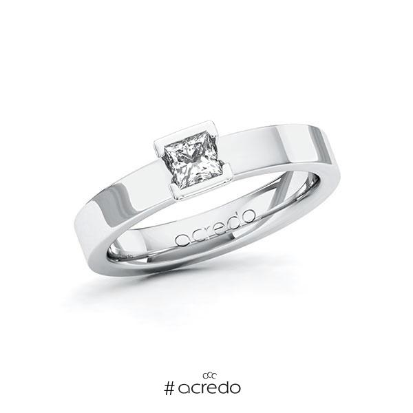 Verlobungsring in Weißgold 585 mit 0,3 ct. Prinzess-Diamant tw, vs von acredo