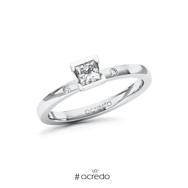 Verlobungsring in Weißgold 585 mit 0,3 ct. + zus. 0,02 ct. Prinzess-Diamant tw, vs tw, si von acredo