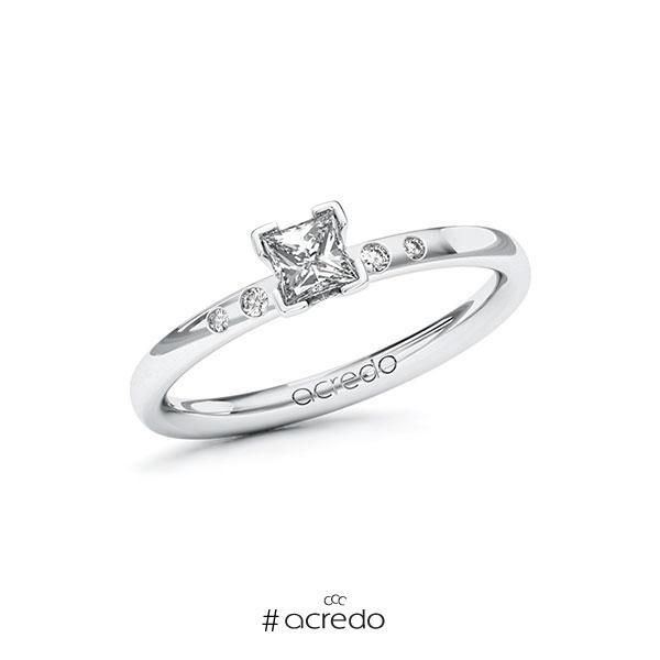 Verlobungsring in Weißgold 585 mit 0,3 ct. + zus. 0,03 ct. Prinzess-Diamant tw, vs tw, si von acredo
