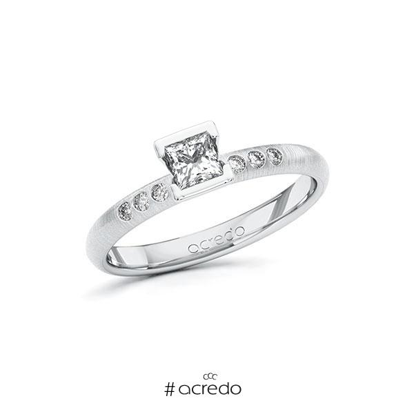 Verlobungsring in Weißgold 585 mit 0,3 ct. + zus. 0,06 ct. Prinzess-Diamant tw, vs tw, si von acredo