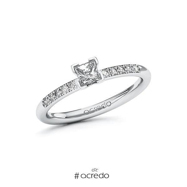 Verlobungsring in Weißgold 585 mit 0,3 ct. + zus. 0,08 ct. Prinzess-Diamant tw, vs tw, si von acredo