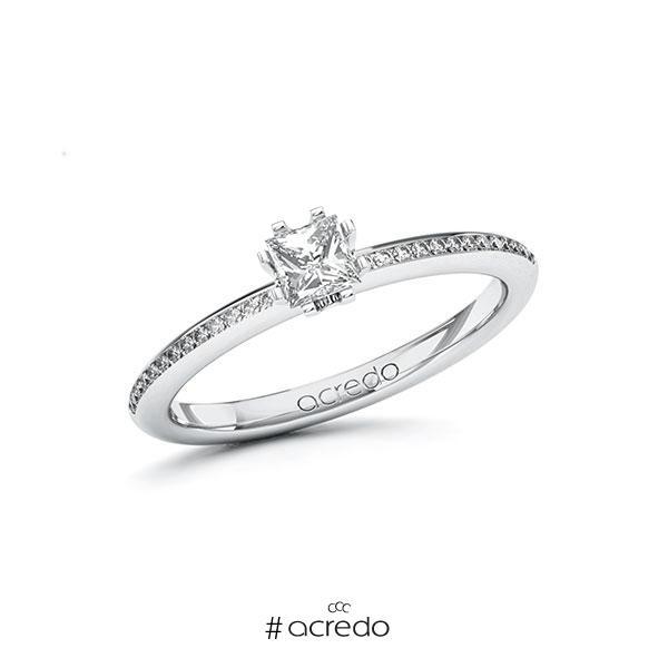 Verlobungsring in Weißgold 585 mit 0,3 ct. + zus. 0,13 ct. Prinzess-Diamant tw, vs tw, si von acredo
