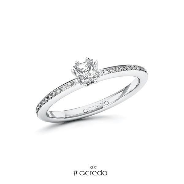 Verlobungsring in Weißgold 585 mit 0,3 ct. + zus. 0,15 ct. Prinzess-Diamant tw, vs tw, si von acredo