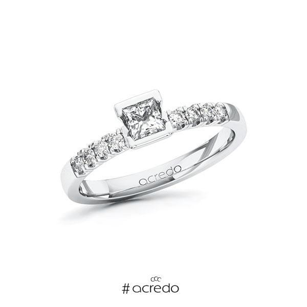 Verlobungsring in Weißgold 585 mit 0,3 ct. + zus. 0,16 ct. Prinzess-Diamant tw, vs tw, si von acredo