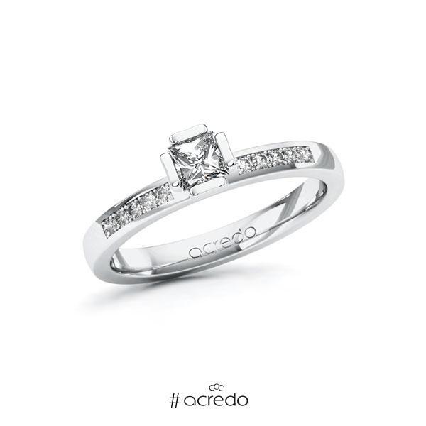 Verlobungsring in Weißgold 585 mit 0,3 ct. + zus. 0,1 ct. Prinzess-Diamant tw, vs tw, si von acredo