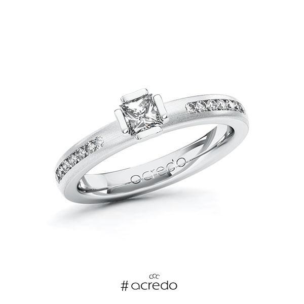 Verlobungsring in Weißgold 585 mit 0,3 ct. + zus. 0,21 ct. Prinzess-Diamant tw, vs tw, si von acredo