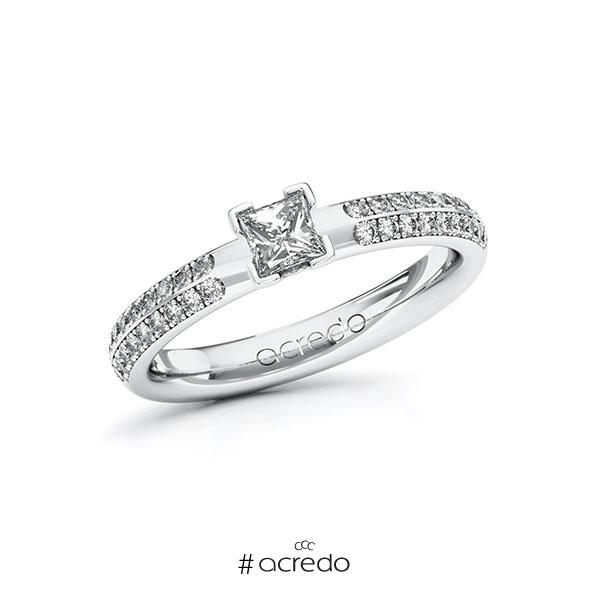 Verlobungsring in Weißgold 585 mit 0,3 ct. + zus. 0,288 ct. Prinzess-Diamant tw, vs tw, si von acredo