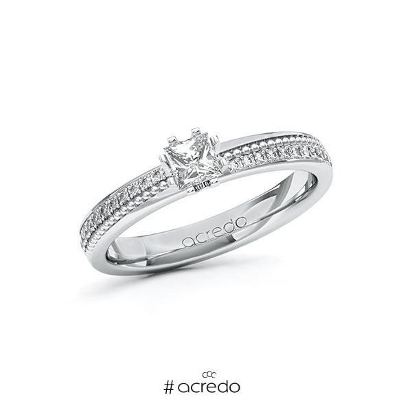 Verlobungsring in Weißgold 585 mit 0,3 ct. + zus. 0,296 ct. Prinzess-Diamant tw, vs tw, si von acredo