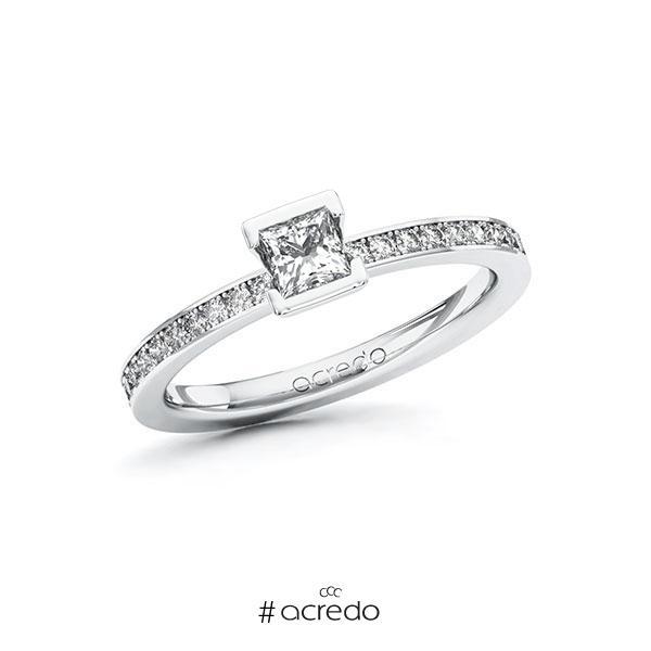 Verlobungsring in Weißgold 585 mit 0,3 ct. + zus. 0,2 ct. Prinzess-Diamant tw, vs tw, si von acredo