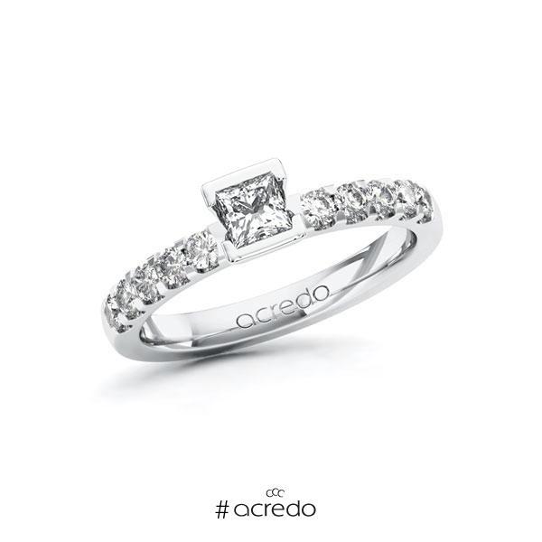 Verlobungsring in Weißgold 585 mit 0,3 ct. + zus. 0,3 ct. Prinzess-Diamant tw, vs tw, si von acredo