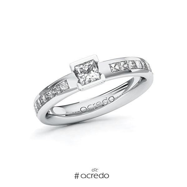 Verlobungsring in Weißgold 585 mit 0,3 ct. + zus. 0,48 ct. Prinzess-Diamant tw, vs tw, si von acredo