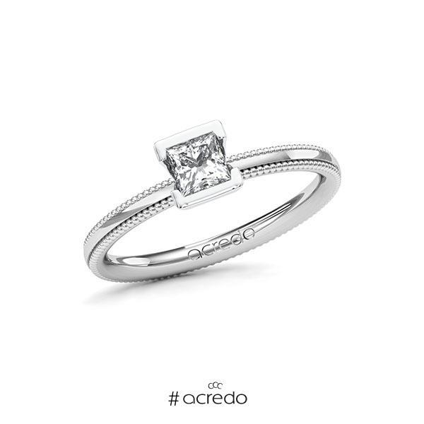 Verlobungsring in Weißgold 585 mit 0,4 ct. Prinzess-Diamant tw, vs von acredo