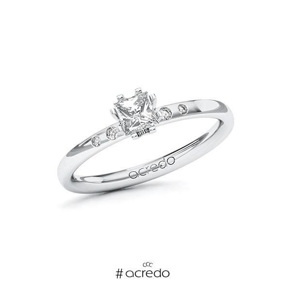 Verlobungsring in Weißgold 585 mit 0,4 ct. + zus. 0,03 ct. Prinzess-Diamant tw, vs tw, si von acredo