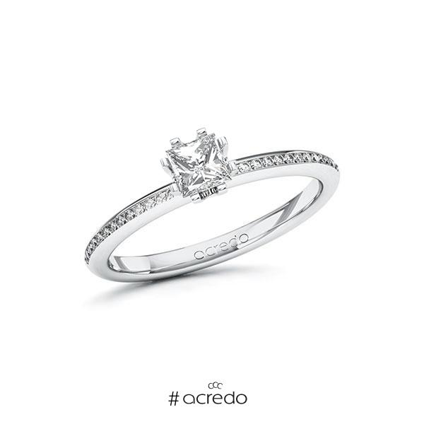 Verlobungsring in Weißgold 585 mit 0,4 ct. + zus. 0,13 ct. Prinzess-Diamant tw, vs tw, si von acredo