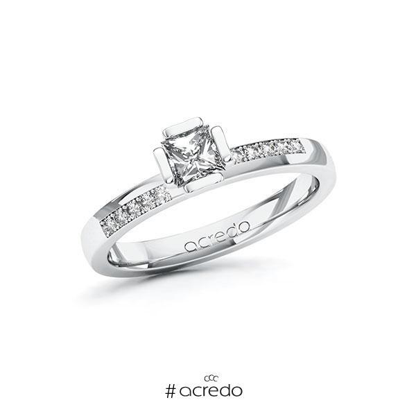 Verlobungsring in Weißgold 585 mit 0,4 ct. + zus. 0,1 ct. Prinzess-Diamant tw, vs tw, si von acredo