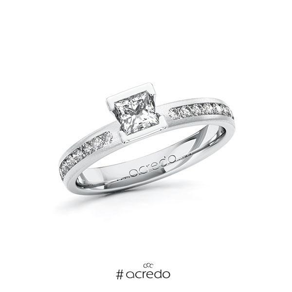 Verlobungsring in Weißgold 585 mit 0,4 ct. + zus. 0,24 ct. Prinzess-Diamant tw, vs tw, si von acredo