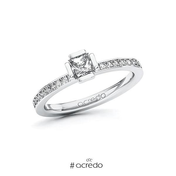 Verlobungsring in Weißgold 585 mit 0,4 ct. + zus. 0,2 ct. Prinzess-Diamant tw, vs tw, si von acredo