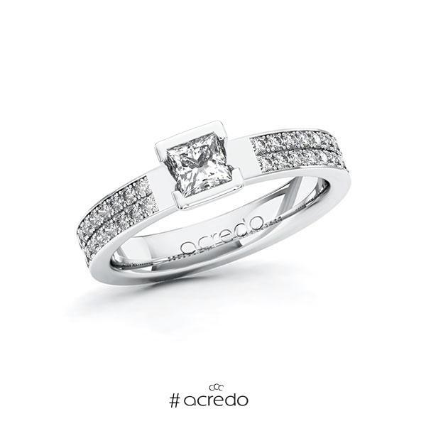Verlobungsring in Weißgold 585 mit 0,4 ct. + zus. 0,36 ct. Prinzess-Diamant tw, vs tw, si von acredo